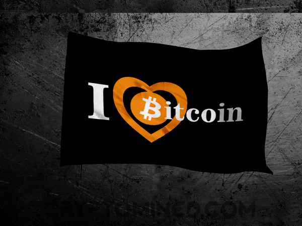 I Love Bitcoin Black Flag