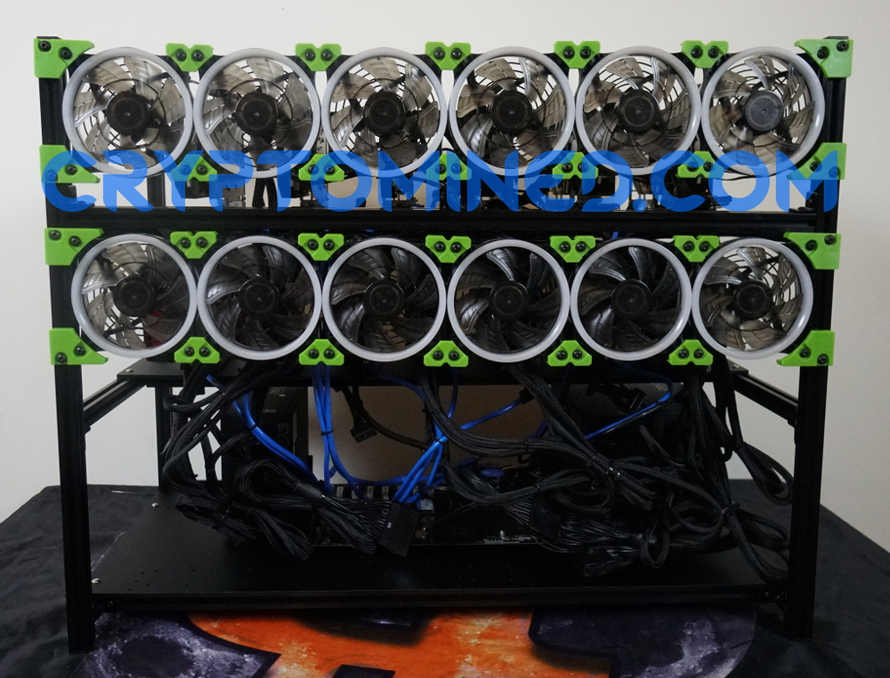 BlackLucky13 12--16 GPU Stackable Mining Rig Frame