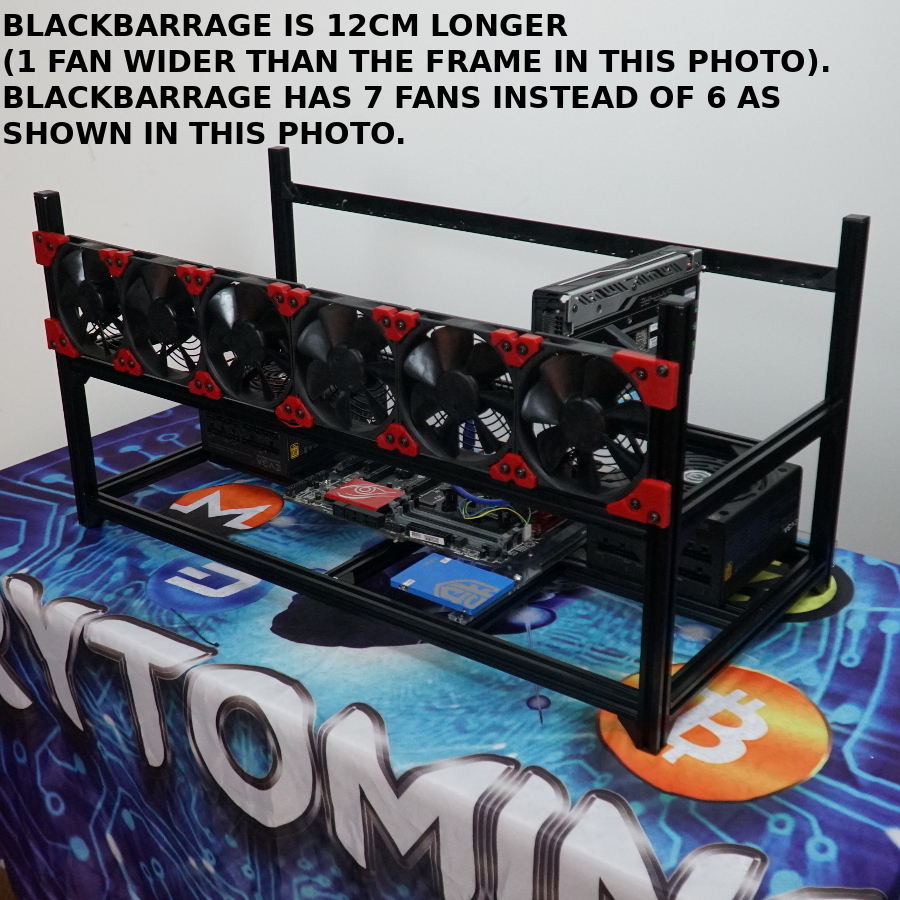 BlackBarrage 8-GPU 7-Fan Stackable Aluminum Rig Frame 88cm Long