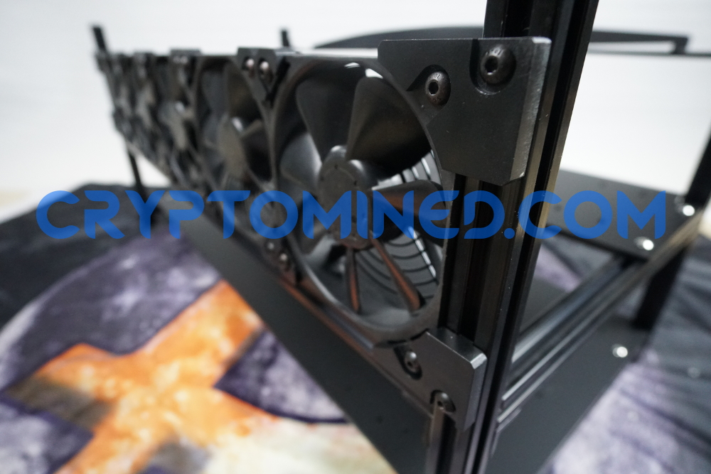 BlackO2 8-GPU 6-Fan Stackable Aluminum Rig Frame 76cm Long