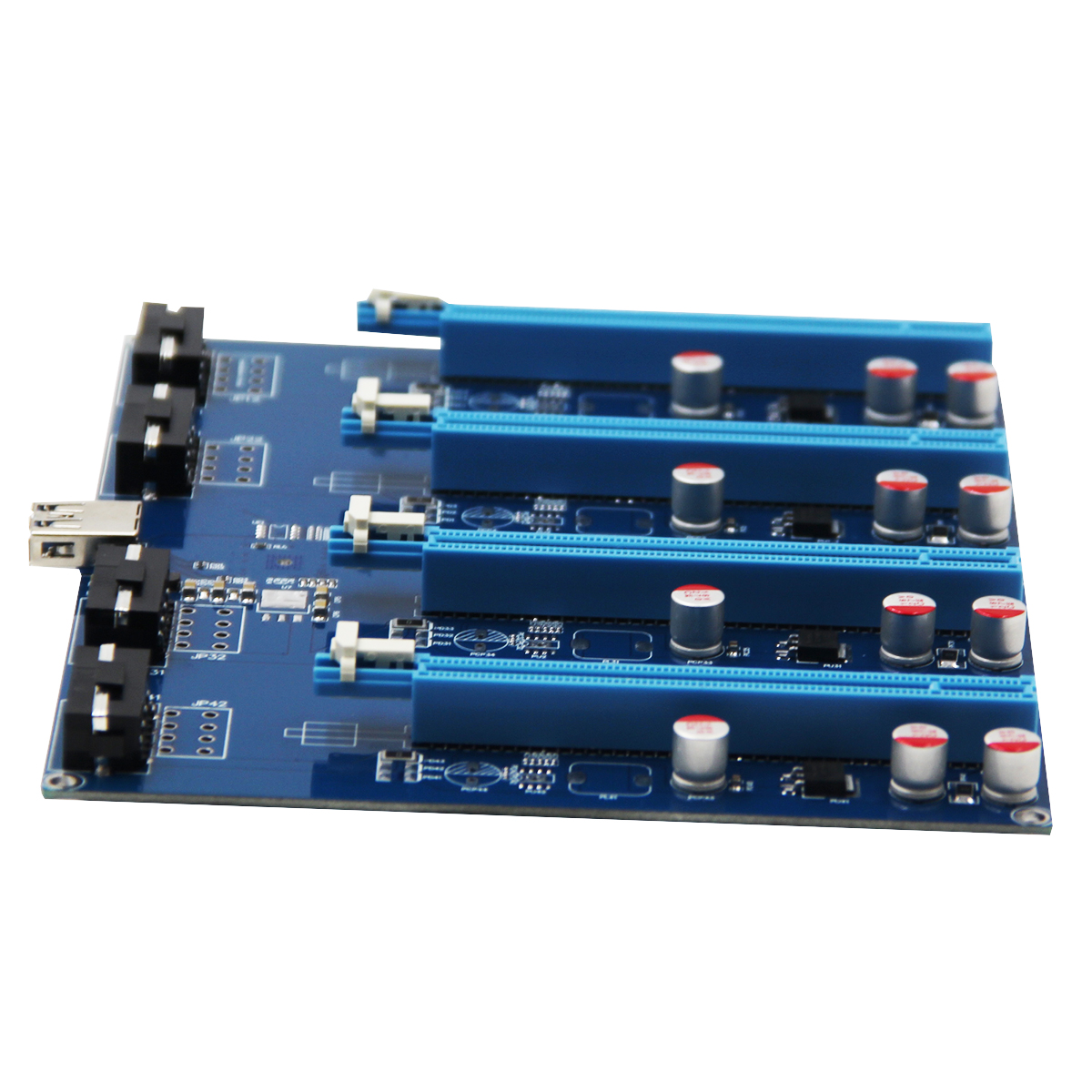 PCI-E 1X 1 to 4 Riser Extension Card - Click Image to Close