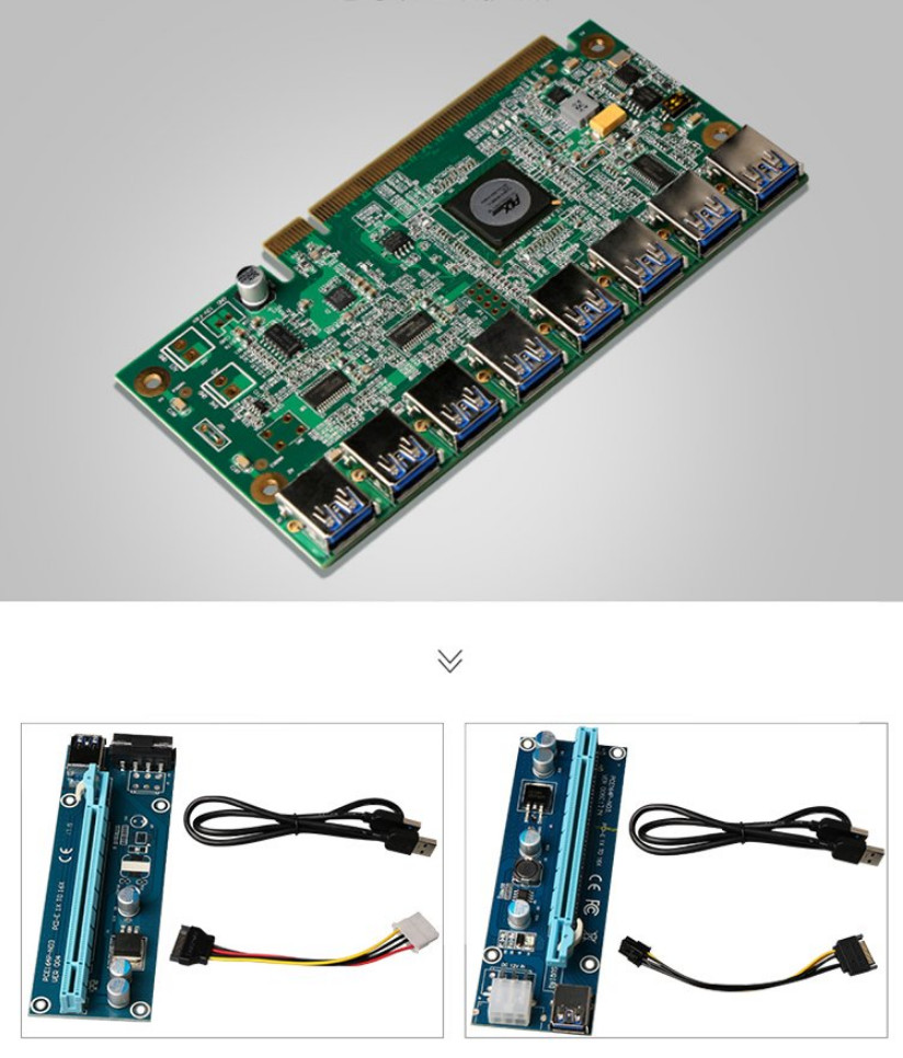 PCIE 16X Slot to 8 USB 3.0 PCIE Ports Expansion Card