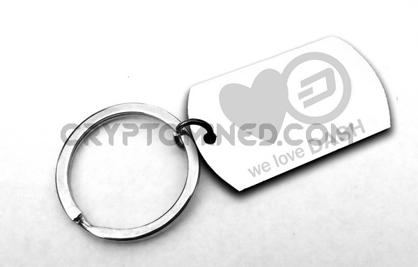 We Love Dash Dog Tag Custom QR Code Wallet Keychain